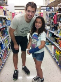ANGELINA POSES WITH SAN JOSE SHARKS MARC-EDOUARD VLASIC